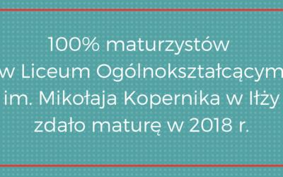 100% zdanych matur w 2018 r. w LO im. M. Kopernika w Iłży